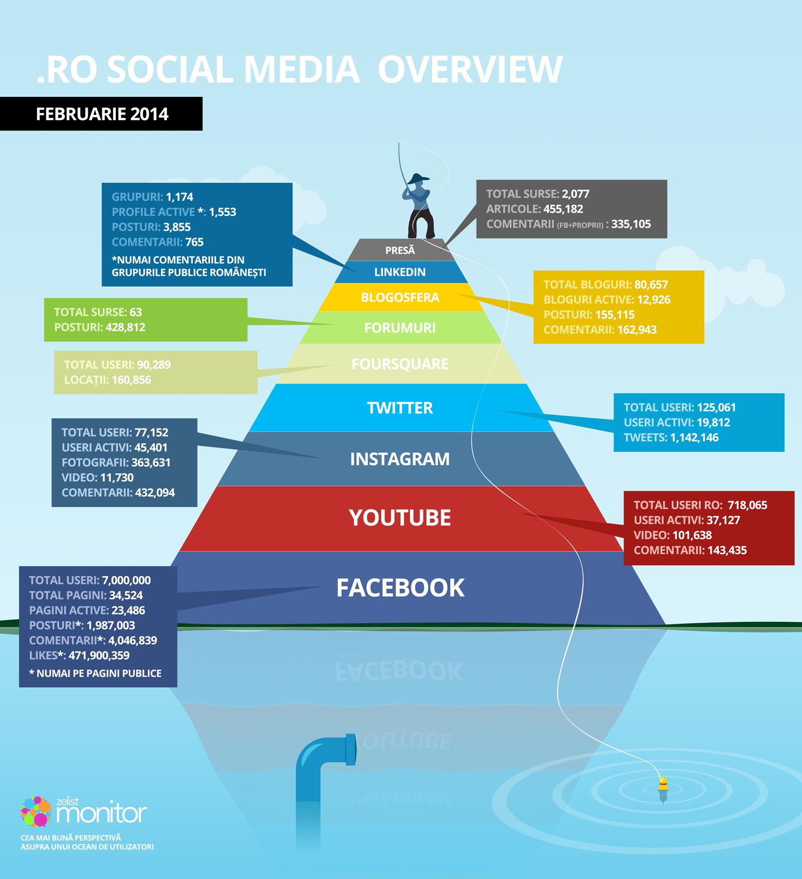 Overview social media Februarie 2014