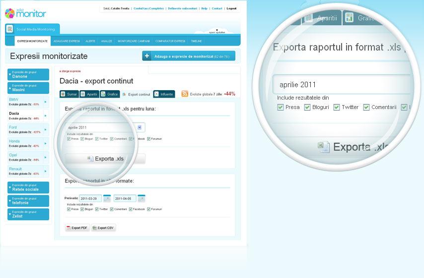 Functionalitati de export date (csv, xls, pdf)